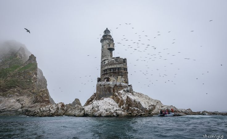 https://flic.kr/p/J9N6dw | Маяк на мысе Анива | Lighthouse on the Aniva cape, Sakhalin Island, Russia. This lighthouse was built in 1939 by the Japanese in Karafuto period on Sakhalin.    Lighthouse worked on the diesel generator or battery backup, but in 199x RTGs (radioisotope thermoelectric generator) were installed by Russians for its autonomy.  From 2006 lighthouse does not work.