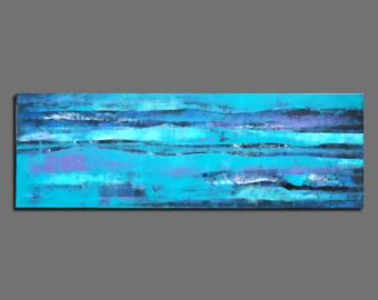 CUSTOM  Abstract painting Blue pink turquoise Abstract