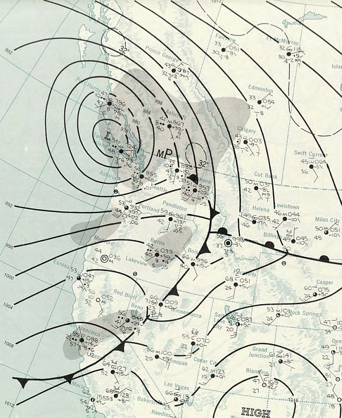 Weather map of Columbus Day Storm; 1962 (50 years ago this past October) - anyone remember this?