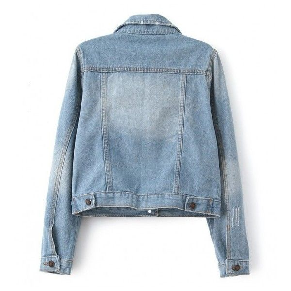Four Pockets Light Blue Faded Denim Jacket ($17) ❤ liked on Polyvore featuring outerwear and jackets