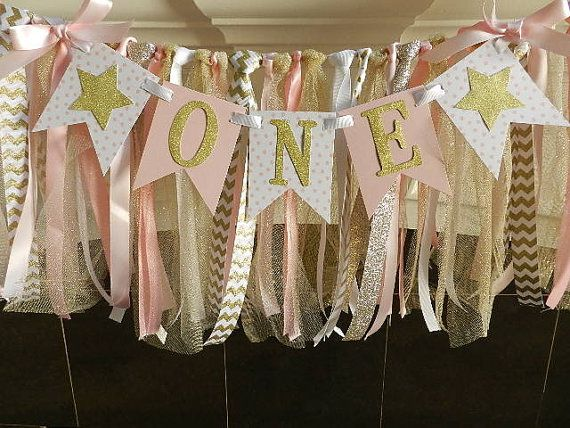 Pink and Gold First Birthday Banner by APartyWithPaper on Etsy