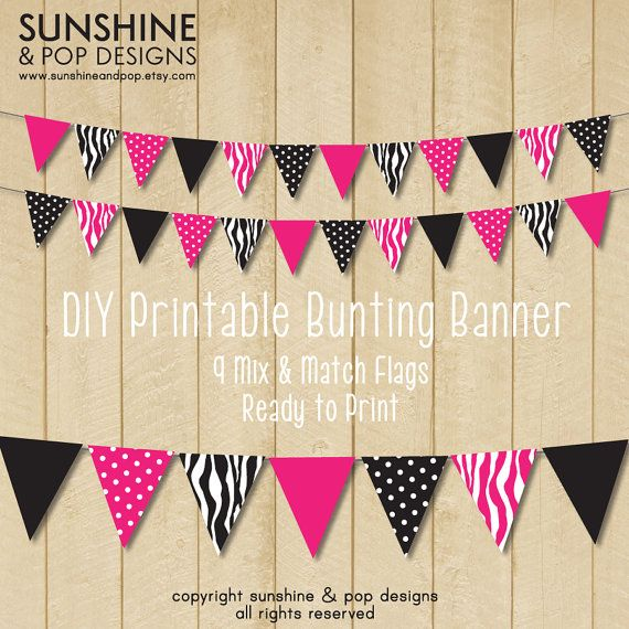INSTANT DOWNLOAD  DIY Party Printable Flag by SunshineAndPop