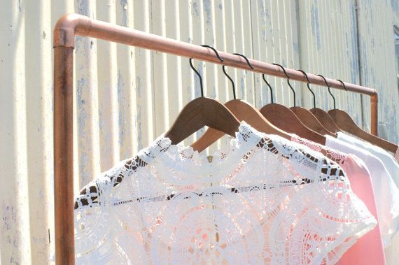 Industrial Rolling Copper Pipe Clothing Rack
