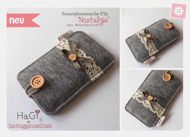 Smartphonetasche Filz Nostalgia Iphonetasche von HaGi by Herzig ♥ Genaehtes auf DaWanda.com