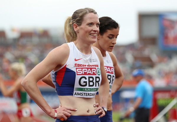Eilidh Doyle of Great Britain looks on following the qualifying heat for the womens 4x400m relay on day four of The 23rd European Athletics Championships at Olympic Stadium on July 9, 2016 in Amsterdam, Netherlands.