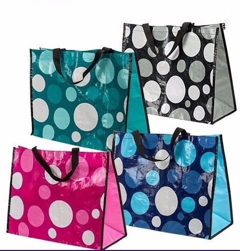 Set of 4 Large Laminated Polka Dot Fashion Tote Bags WATERPROOF BEACH CRAFTS  #Unbranded #TotesShoppers