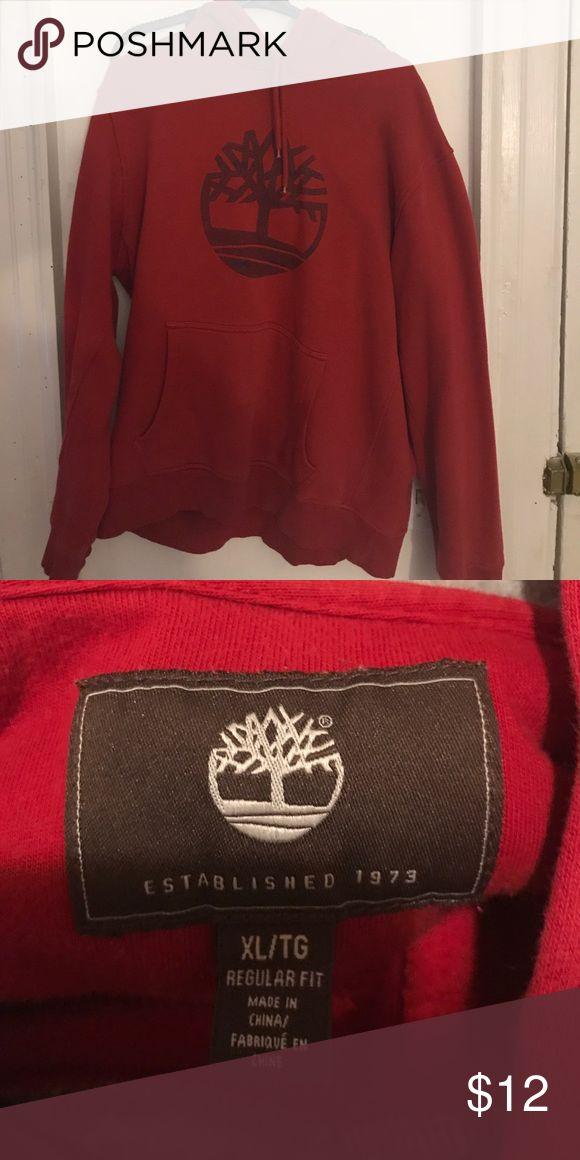 Red timberland hoodie Red timberland hoodie lightly worn Timberland Tops Sweatshirts & Hoodies