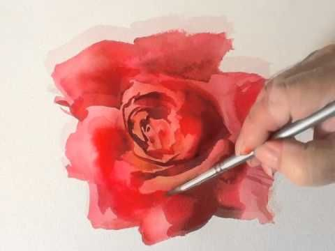 Pintar un rosa en acuarela.