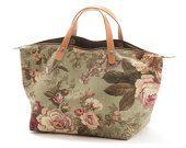 Bag Handbag RosePepper, Floral canvas bag, Lining in denim, Zipper top closure, Leather handles