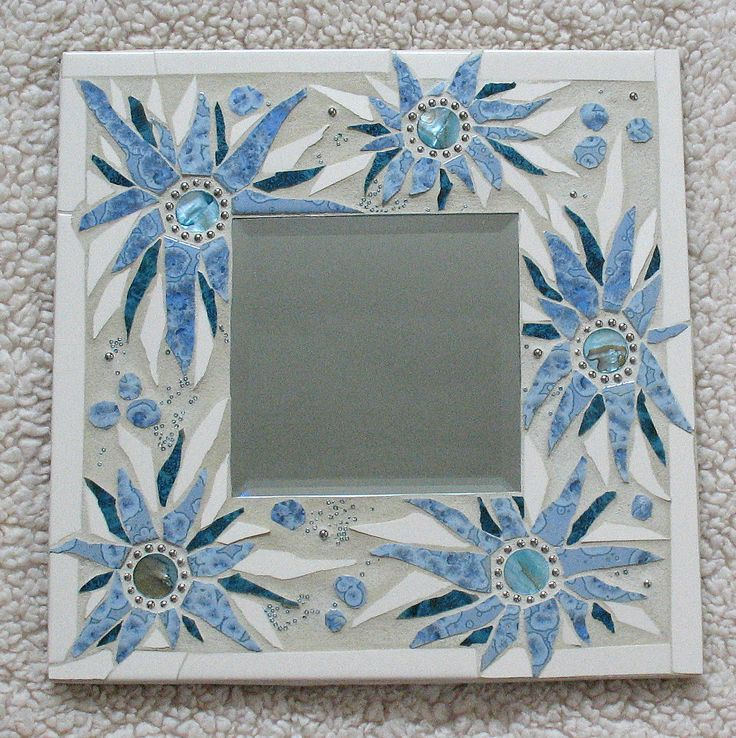 Mosaic Mirror Blue Flowers