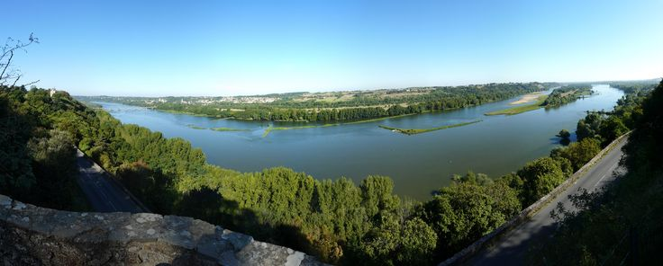 Panorama from Champtoceaux on Oudon town, France, Loire border, Made with Hugin