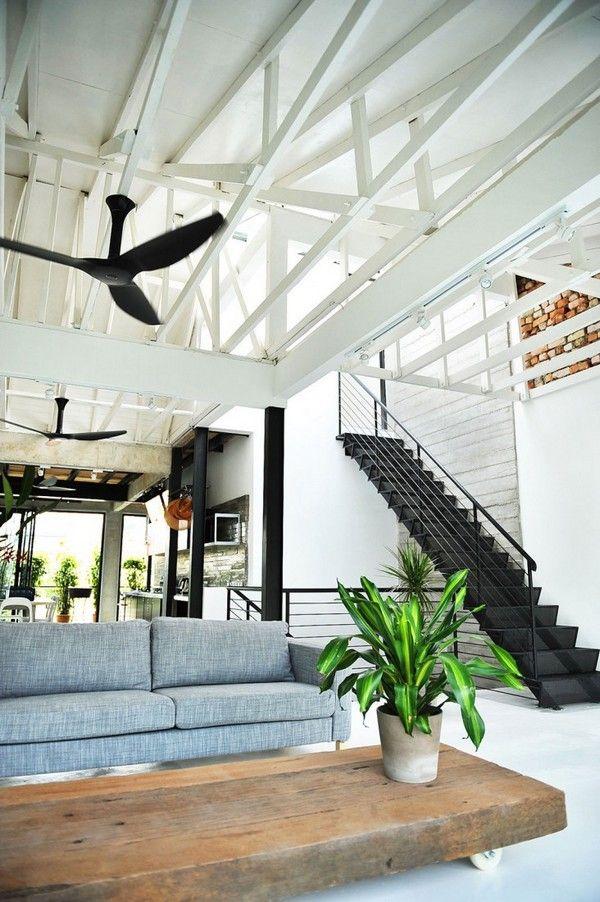 Terasek House in Bangsar, Kuala Lumpur, Malaysia: Living Rooms, Stairs, Expo Beams, Open Spaces, Interiors Design, Coff Tables, High Ceilings, House, Kuala Lumpur