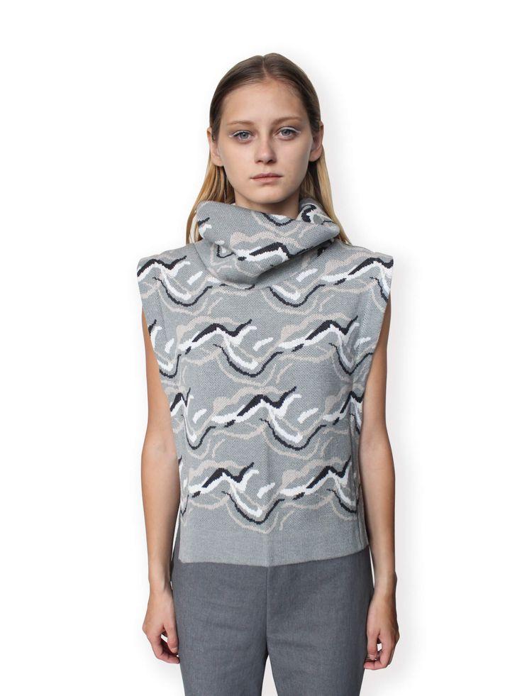 Jacquard Knitted Vest-Grey