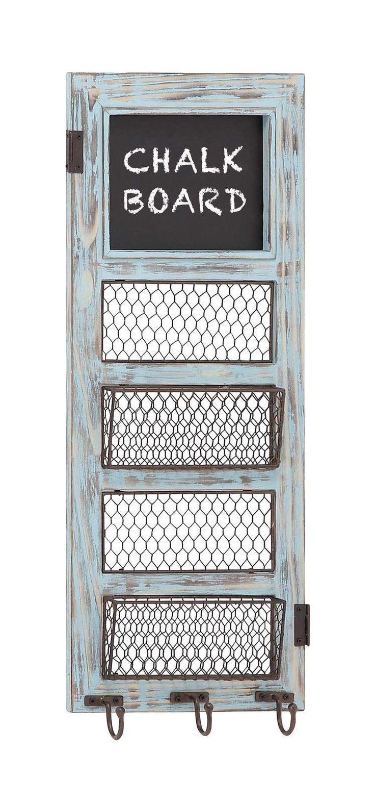 Shabby blue wood metal memo note chalk blackboard letter - Letter rack and key holder ...