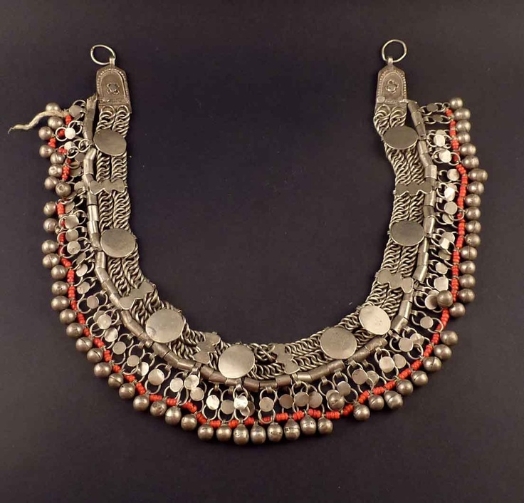 Yemen | Vintage Head ornament worn by the Bedouin women in the Desert of Yemen | Could be converted into a necklace | Silver (content unknown) and red glass beads | Sold
