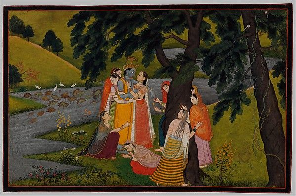 """""""Krishna and the Gopis (Milk Maids) on the Bank of the Yamuna River,"""" Folio from the """"Second"""" or """"Tehri Gahrwal"""" Gita Govinda (Song of God)"""