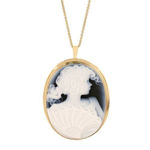"""14k Yellow Gold Italian Blue Agate Lady Profile Cameo Pin-Pendant Necklace, 18"""" Amazon Curated Collection. $641.00. Made in Italy"""