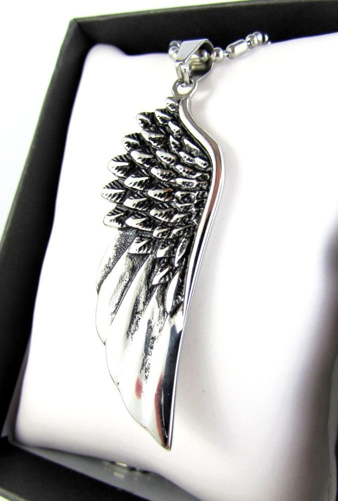 Silver Angel Wing Solid Stainless Steel Pendant Chain Necklace