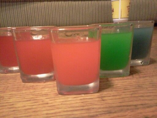 Skittles vodka shots (seperate the flavors/colors, disolve skittles in vodka ~2-3 weeks, strain away the gunk and keep the syrup) best used as an addivite.