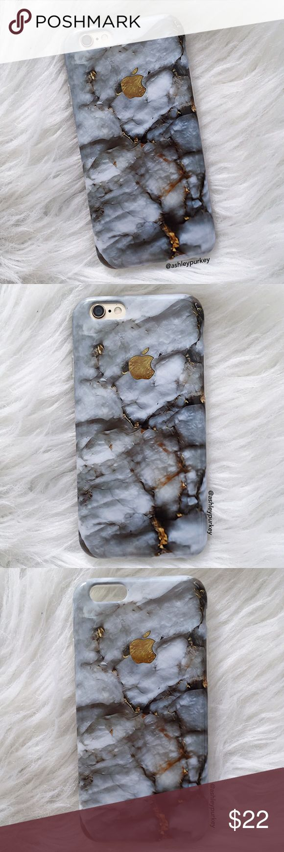"""gray and gold marble apple iPhone 6 7 • Plus case •sizes:  iPhone 7 (4.7"""") iPhone 6 Plus (5.5"""") iPhone 7 Plus (5.5"""")  •flexible silicone   •phone not included   •no trades    *please make sure you purchase the correct size case. i am not responsible if you purchase the wrong size  item #: 65 B-Long Boutique  Accessories Phone Cases"""
