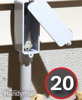Fake electricity - Say you want to hide a key—other than under the rug or over the door. How about mounting a phony plastic LB fitting. Screw it to the wall and run a bit of 1/2-in. conduit to the ground so it looks official. Cut the head off the bottom screw and glue it in place. That's it. Swing the cover aside and there's the key.  Read more: http://www.familyhandyman.com/home-security/20-secret-hiding-places/view-all#ixzz38vem6qfz