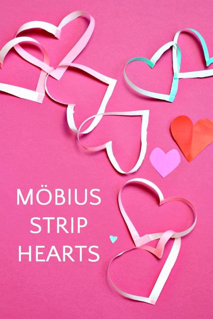 Valentine's Day craft. How to make Möbius strip hearts. Fun idea for math class.