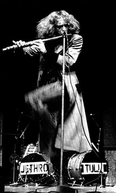 Jethro Tull - Ian Andersen really does stand on one leg when he plays; I was lucky enough to see Tull ca. 1974.