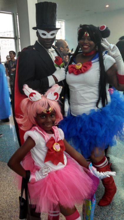 One of my favorite cosplays I saw at Anime Expo. Tuxedo Mask/ Darien, Sailor Moon/Serena and Sailor Mini Moon/Rini