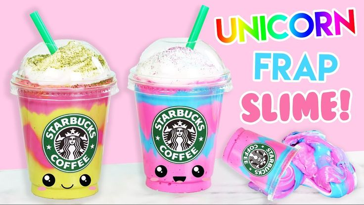 How to Make Starbucks Unicorn + Mermaid Frap FLUFFY SLIME