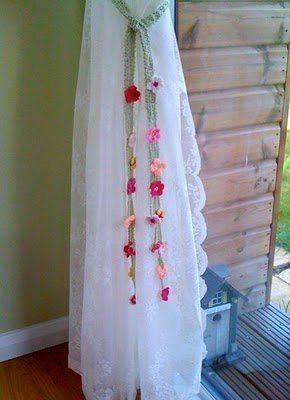 Floral Curtain Tie Backs | AllFreeCrochet.com