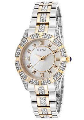 Bulova Women's Crytal Two-Tone SS Textured Mother of Pearl Dial