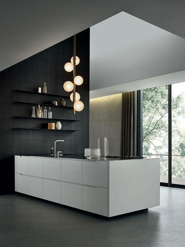 Küche schwarze wand weiße kücheninsel