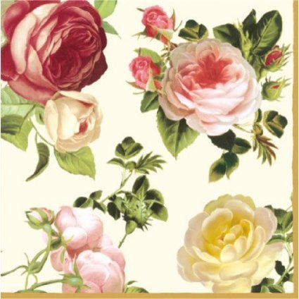 """Paper Luncheon Napkins 40pcs 13""""x13"""" 4-color Roses White, Yellow, Light & Dark Pink, Decoupage"""