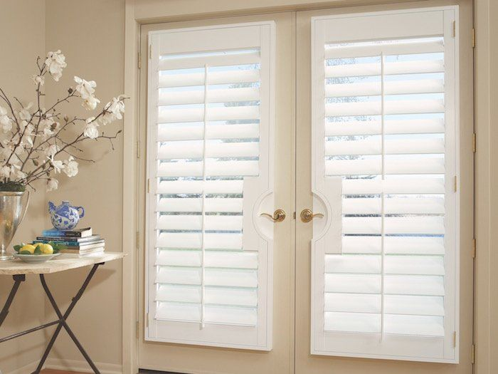 NewStyle hybrid shutters on a French Door, for sale at Classic Blinds & Shutters Design Center in Alpharetta, GA
