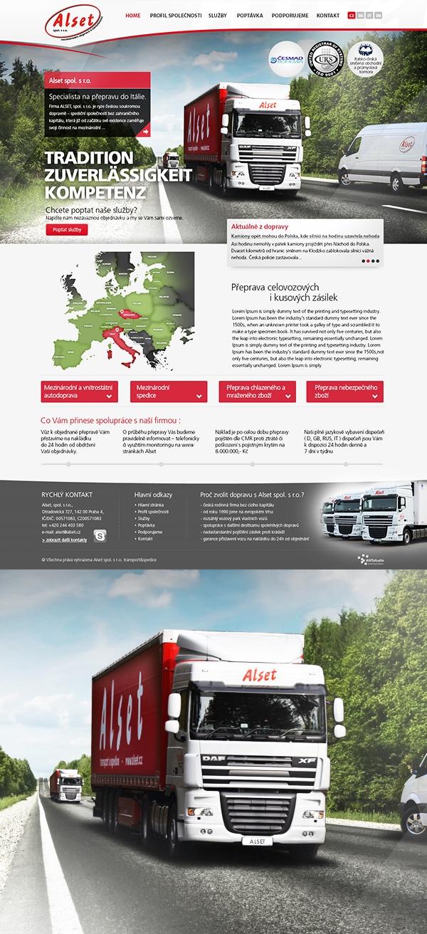 Redesign webových stránek stálého klienta, specialisty na autodopravu do Itálie.