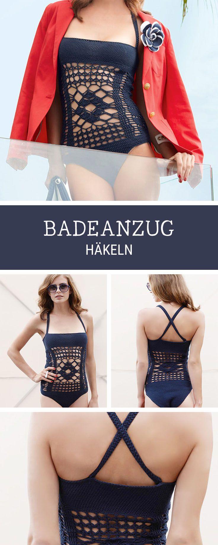 Badeanzug häkeln mit Lochmuster, DIY-Inspiration für den Sommer / summerly crocheting diy: crocheted swimsuit, trend diy via DaWanda.com