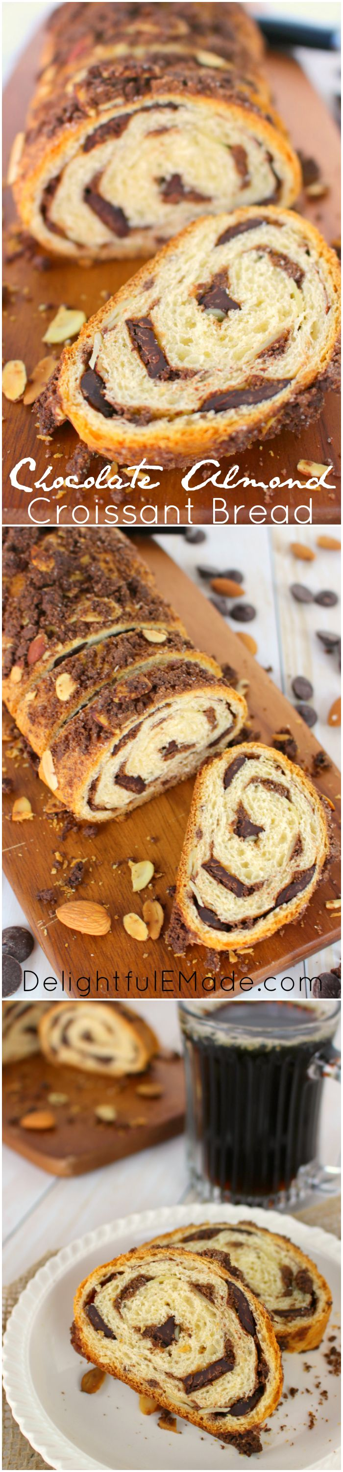 If you love chocolate and almond croissants, this Chocolate Almond Croissant Bread is definitely for you!  Loaded with lots of semi-sweet chocolate and sliced almonds, this easy to make breakfast bread is perfect with your morning coffee or tea!