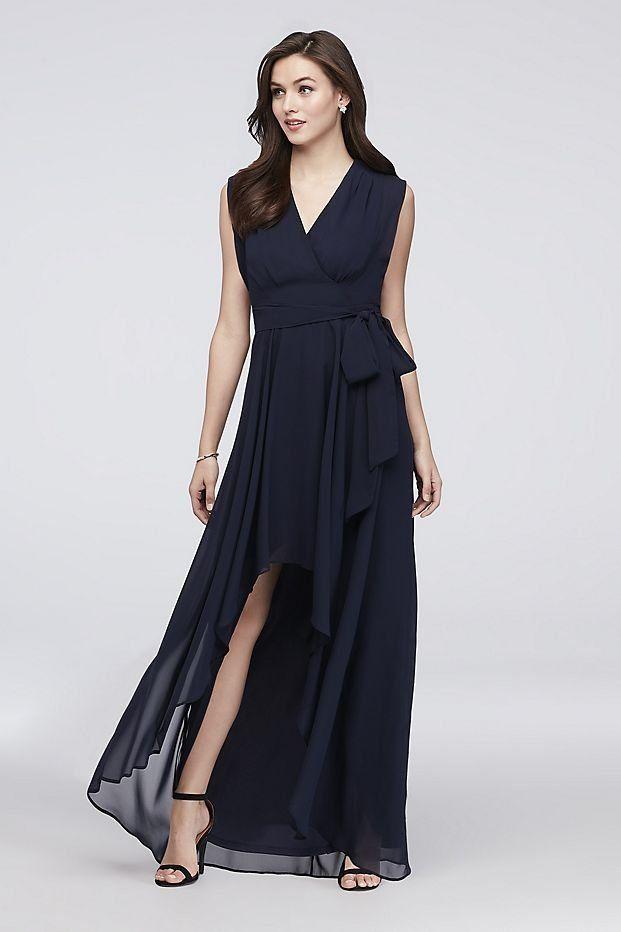 4f4f1d482fe9 Faux-Wrap Cap Sleeve Chiffon Bridesmaid Dress | David's Bridal | Navy blue  bridesmaid dress