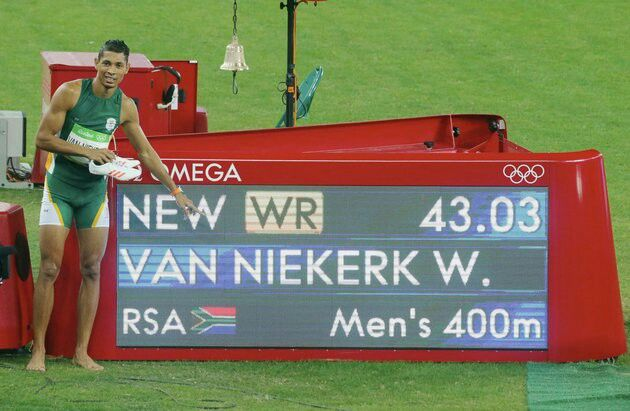 New World record for Wayde van Niekerk in the mens 400m. Rio Olympics 2016