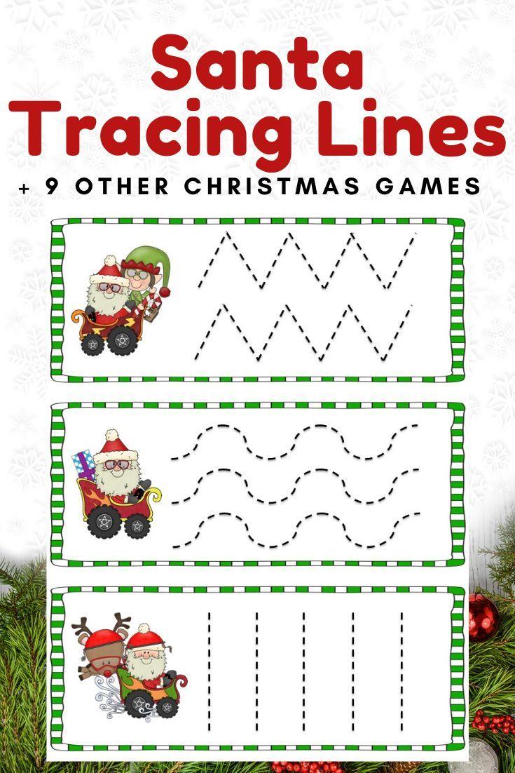 Santa Tracing Lines Prewriting Skills Kids Worksheets Printables Preschool Christmas Activities [ 1102 x 735 Pixel ]