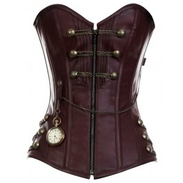 CD-467 - Brown Steam punk Style Corset with Chain Detail- MADE TO ORDER  £105.60