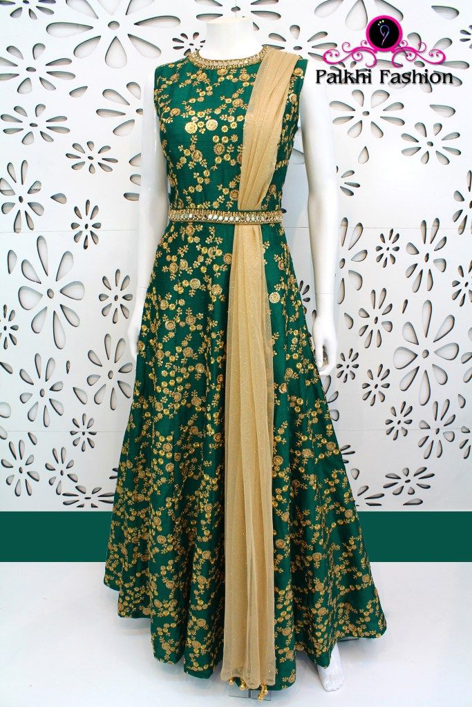 PalkhiFashion Exclusive Emerald Green Silk Outfit featuring Zari Work