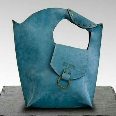 Asymmetric teal bag