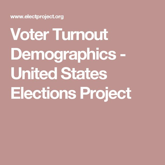 Voter Turnout Demographics - United States Elections Project