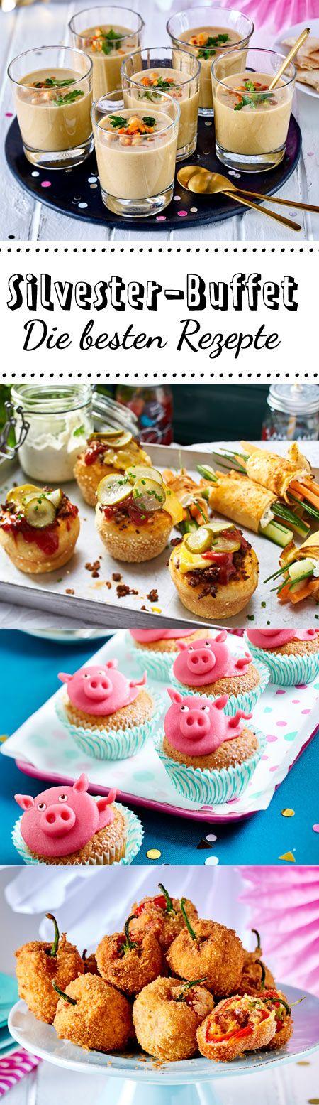 Auf dem Silvester-Buffet gibt es Leckerein von Suppe über Fingerfood bis hin zu Salaten. Hier findest du die besten Rezepte für deine gelungene Silvester-Party! #silvester #silvesterbuffet #buffet #fingerfood