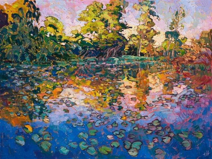 Water Lilies 2016 OIL ON CANVAS by erin hanson 36 x 48 in SOLD  Water Lilies Prints:  https://www.erinhanson.com/prints/Water_Lilies   This painting was inspired by the water lily pond at the Norton Simon Museum, a wonderful impressionism museum in Pasadena, California. This painting captures the beautiful late afternoon light of California, reflected in a tree-sheltered pool of water. This painting is my tribute to the classic impressionist greats.
