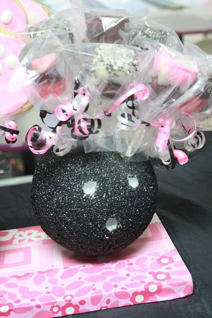 bowling party cake pop display