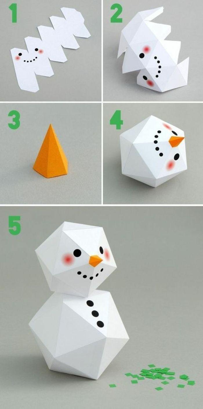 Deco Table Noel A Fabriquer, Bonhomme De Neige En Carton Blanc, Avec Des  Formes