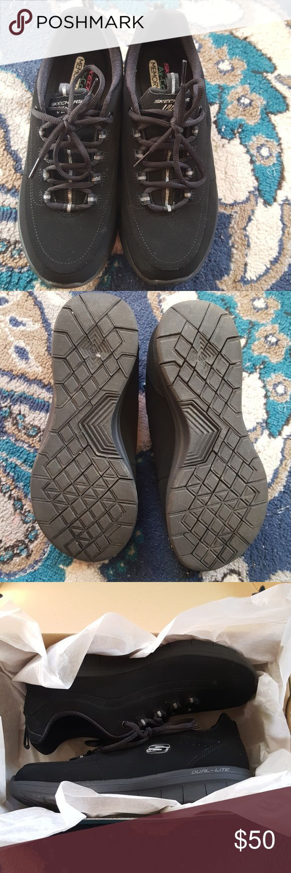 Black Sketchers sneakers Worn only once to break in. Size 8. Has air cooled memory foam. NWOT Skechers Shoes Sneakers