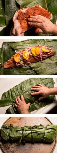 Yucatán fish wrapped in a banana leaf